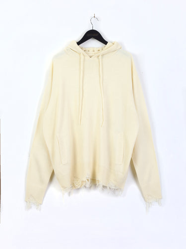 KNITTED DISTRESSED ASSASSIN'S HOODIE – CREAM
