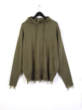 KNITTED DISTRESSED ASSASSIN'S HOODIE - KHAKI
