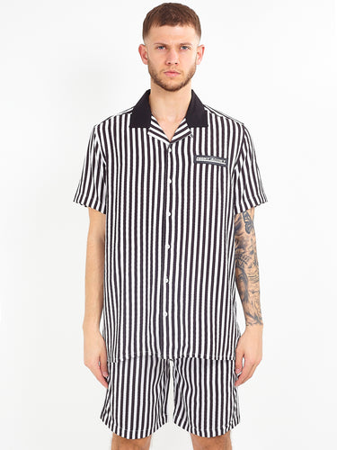 NIGHT ADDICT MONOCHROME STRIPED VISCOSE SHIRT