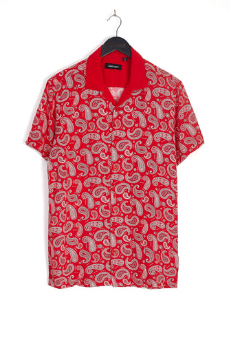 NIGHT ADDICT PAISLEY PRINT VISCOSE SHIRT - RED