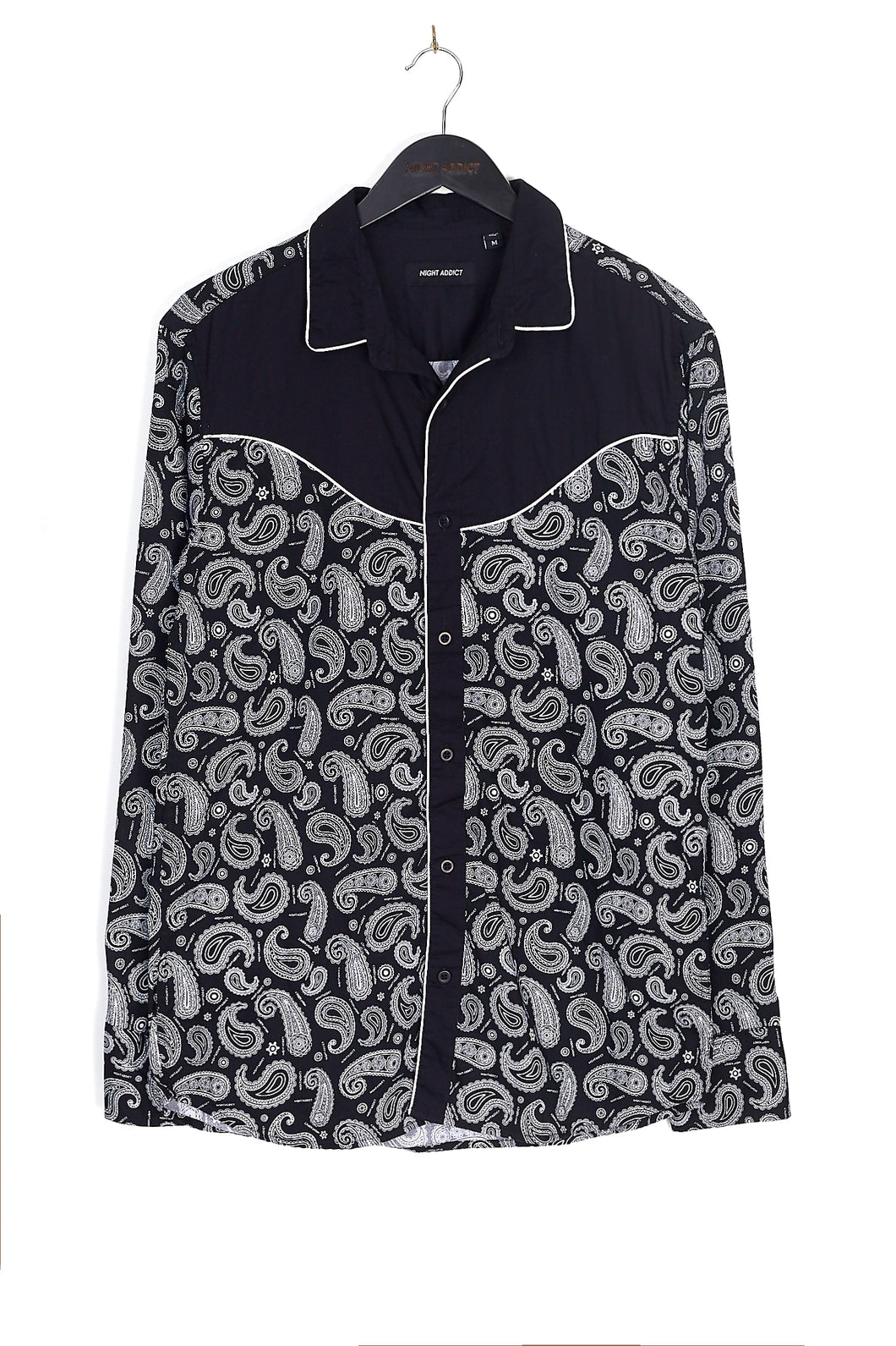 NIGHT ADDICT PAISLEY PRINT LONG SLEEVE SHIRT
