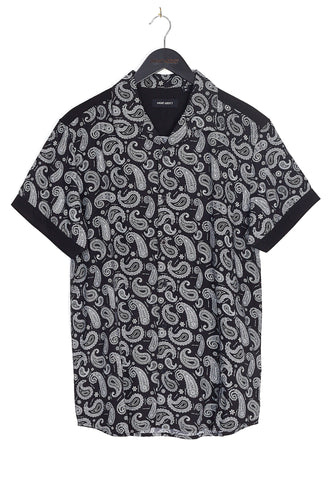NIGHT ADDICT PAISLEY PRINT SHORT SLEEVE SHIRT - BLACK