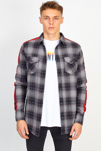 NIGHT ADDICT WOVEN CHECK SHIRT - RED SIDE TAPE