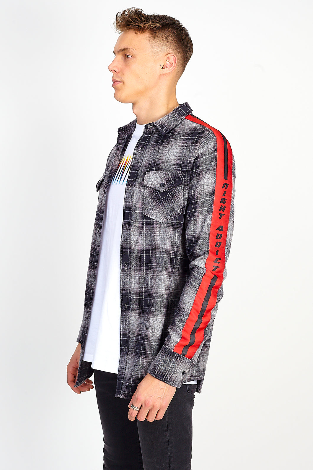 WOVEN CHECK SHIRT - RED SIDE TAPE
