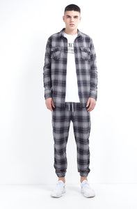 NIGHT ADDICT WOVEN CHECK SHIRT - NAVY SIDE TAPE