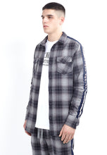 WOVEN CHECK SHIRT - NAVY SIDE TAPE