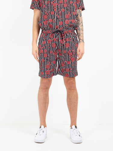 FLORAL STRIPE VISCOSE SHORTS