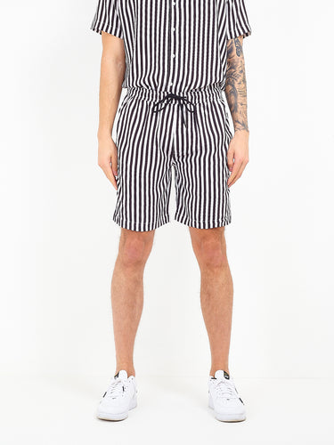 MONOCHROME STRIPED VISCOSE SHORTS