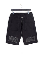 NIGHT ADDICT TWILL LOGO SHORTS - BLACK
