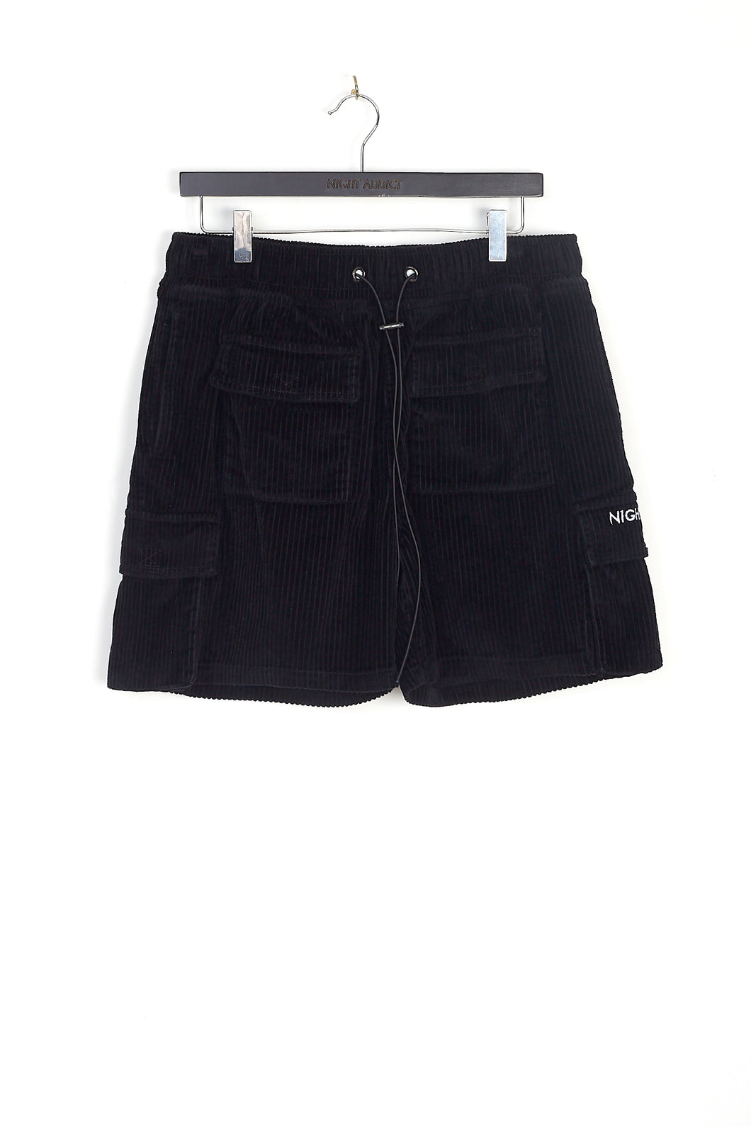 NIGHT ADDICT BLACK CORD CARGO SHORTS