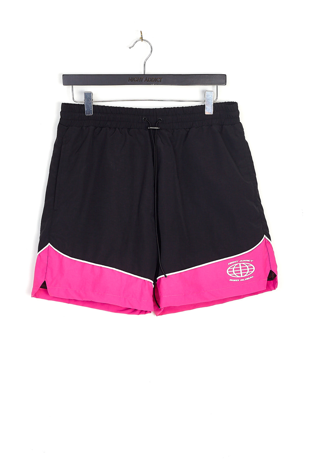 NIGHT ADDICT RETRO PINK PANEL NYLON SHORTS