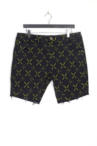 ALL OVER PRINT DENIM SHORTS – BLACK W/ NEON