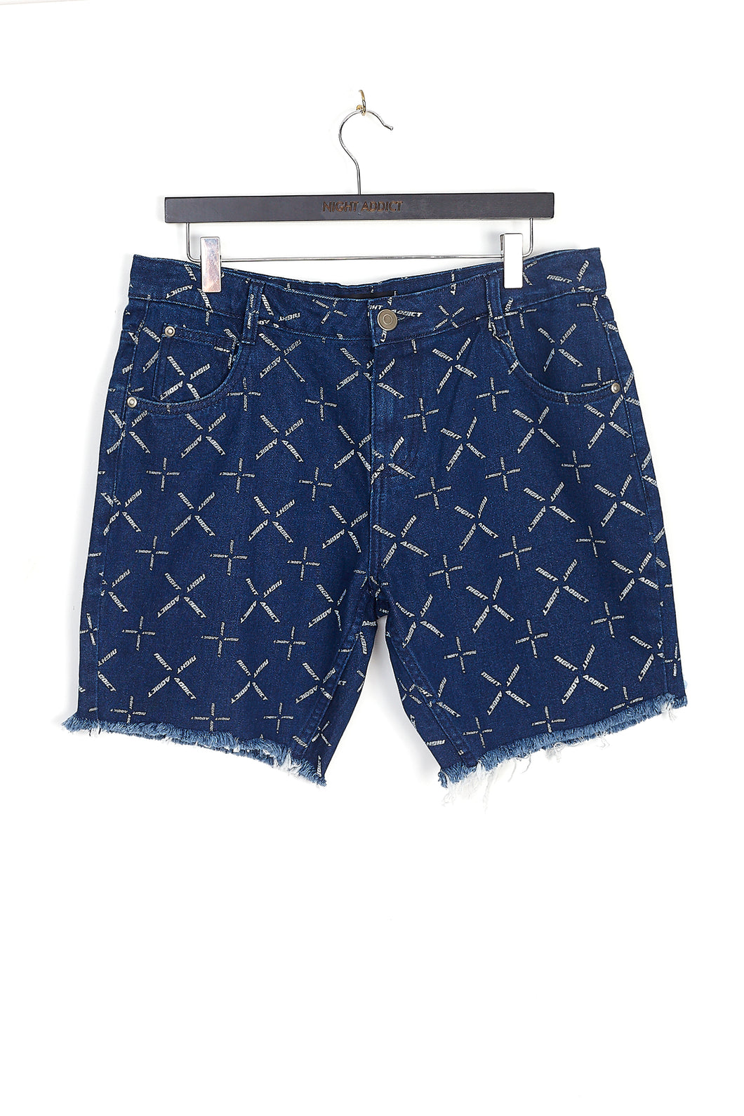 NIGHT ADDICT BLUE WITH WHITE ALL OVER PRINT DENIM SHORTS FRONT