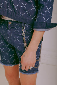 NIGHT ADDICT BLUE WITH WHITE ALL OVER PRINT DENIM SHORTS DETAIL