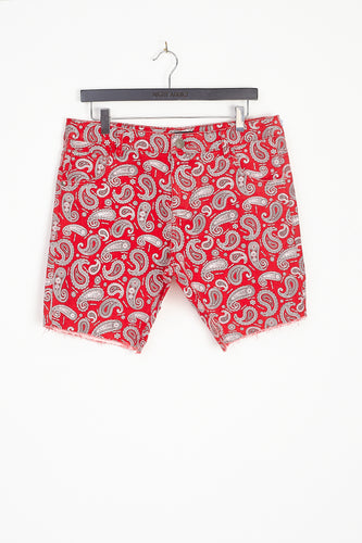 DENIM PAISLEY SHORTS – RED