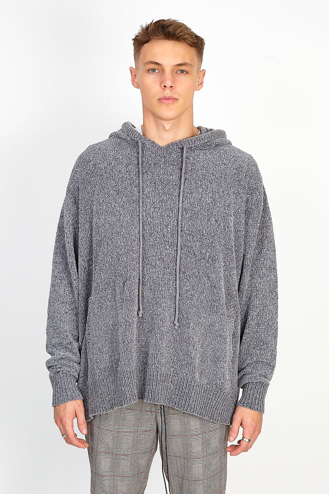 NIGHT ADDICT OVERSIZED CHENILLE HOODIE – GREY