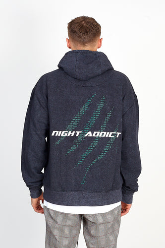 NIGHT ADDICT ACID WASH BACK PRINT HOODIE BACK