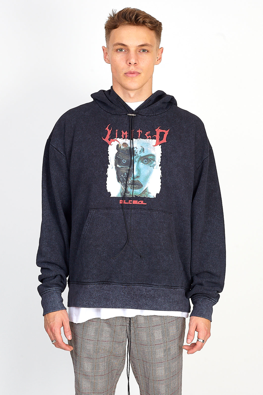 NIGHT ADDICT ACID WASH ROBOT HOODIE FRONT
