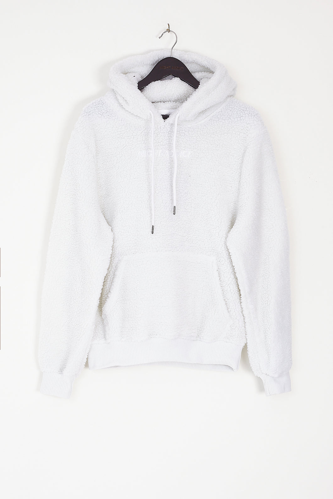 NIGHT ADDICT SHERPA BORG HOODIE - OFF WHITE