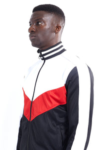 TRACK TOP - WHITE, RED AND BLACK PANELS