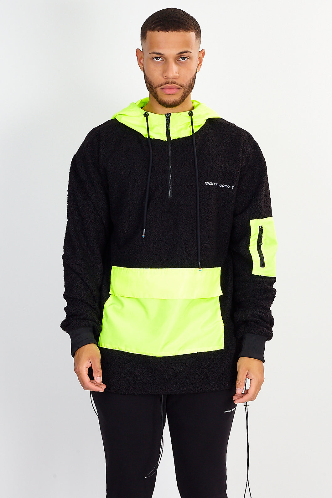 NIGHT ADDICT OVERHEAD BORG HOODIE – BLACK W/ NEON