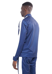 TECHNICAL TRACK TOP - NAVY PINSTRIPE