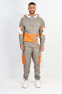 NIGHT ADDICT UTILITY TWILL OVERHEAD JACKET – GREY WITH ORANGE