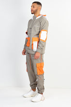 UTILITY TWILL OVERHEAD JACKET – GREY WITH ORANGE