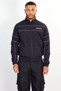 ZIP THROUGH NYLON JACKET – BLACK
