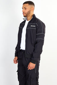 NIGHT ADDICT ZIP THROUGH NYLON JACKET – BLACK