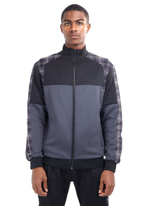TECHNICAL TRACK TOP - GREY CHECK PANEL
