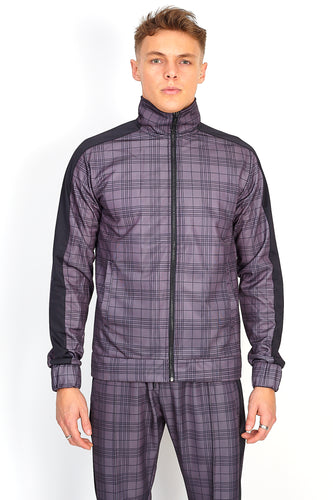 NIGHT ADDICT GREY ALL OVER CHECK PRINT ZIP THROUGH FRONT