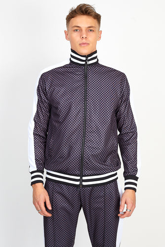 NIGHT ADDICT GREY ALL OVER CHECKBOARD PRINT ZIP THROUGH FRONT