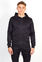 NIGHT ADDICT BLACK SIDE TAPE PINTUCK HOODIE FRONT