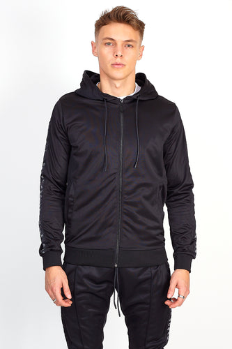 BLACK SIDE TAPE ZIP THROUGH HOODIE