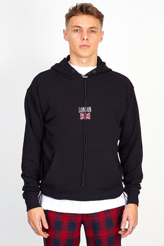 OVERSIZED 'LONDON' HOODIE – BLACK