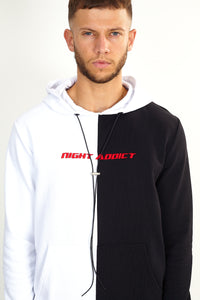 SPLICED HOODIE - BLACK/WHITE