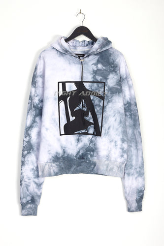 NIGHT ADDICT GREY DIAMONTE DETAIL TIE DYE HOODIE FRONT