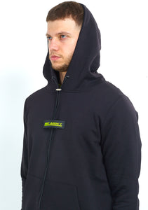OVERHEAD HOODIE WITH RUBBER BADGE - BLACK
