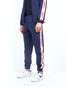 NYLON SIDE TAPE TRACK PANTS - NAVY