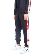 NYLON SIDE TAPE TRACK PANTS - BLACK