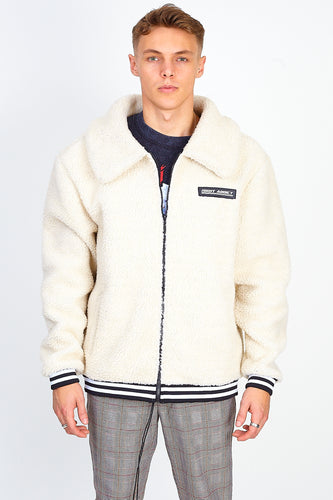 OVERSIZED BORG ZIP THROUGH – CREAM