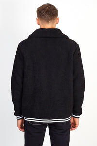 NIGHT ADDICT OVERSIZED BORG ZIP THROUGH – BLACK