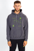 NIGHT ADDICT GREY ACID WASH MAP PRINT HOODIE FRONT