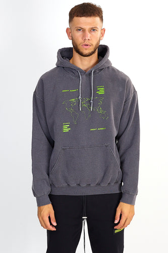 ACID WASH MAP PRINT HOODIE – CHARCOAL