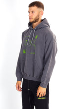 NIGHT ADDICT GREY ACID WASH MAP PRINT HOODIE SIDE