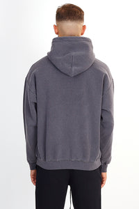 NIGHT ADDICT GREY ACID WASH MAP PRINT HOODIE BACK