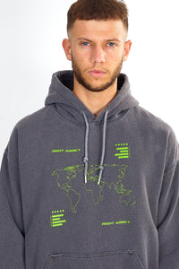 NIGHT ADDICT GREY ACID WASH MAP PRINT HOODIE DETAIL