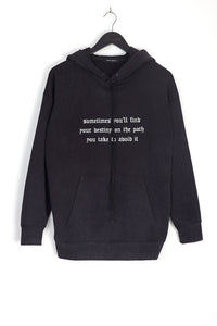 NIGHT ADDICT ACID WASH GOTHIC TEXT HOODIE FRONT