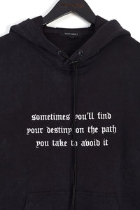 NIGHT ADDICT ACID WASH GOTHIC TEXT HOODIE DETAIL